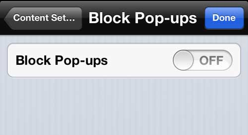 disable pop-up blocking