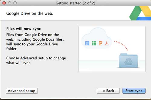 start sync with google drive