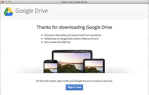 sing into the google drive app
