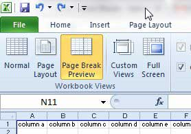 the page break preview in excel 2010