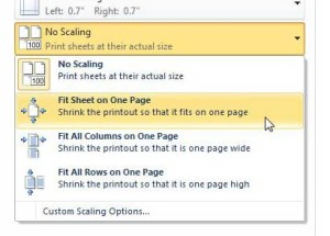 how to print excel 2010 spreadsheet on one page