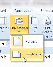 change excel 2010 print orientation