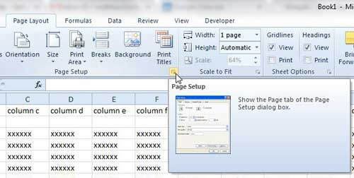 open the excel 2010 page setup menu