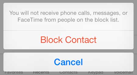 touch the block contact button