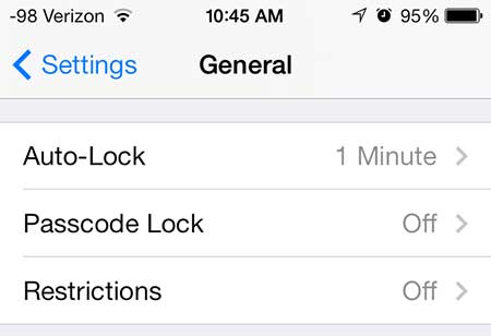 touch the passcode lock button