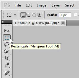 open the rectangular marquee tool