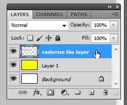 how to rasterize a text layer in photoshop cs5
