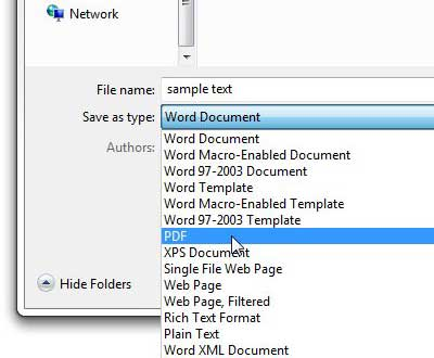 how to save a word document as a pdf in word 2013