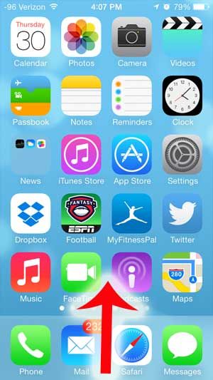 swipe up from the bottom border of the iphone screen