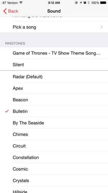 select the new sound for the alarm