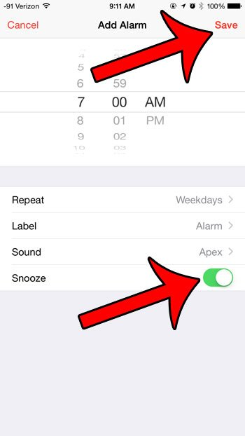 choose the snooze setting, then tap the save button