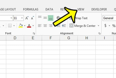 click the excel 2013 view tab