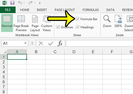 show the formula bar in excel 2013