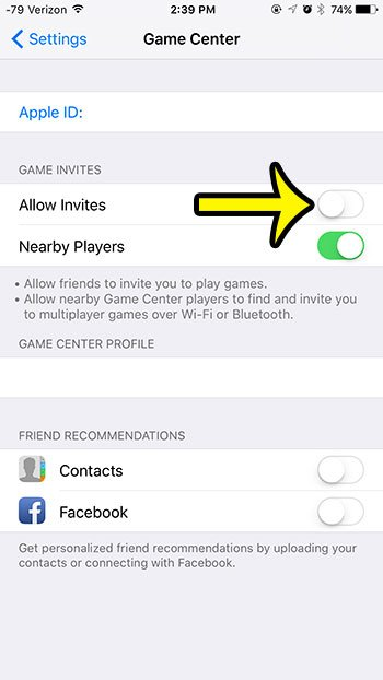 turn off the allow invites option