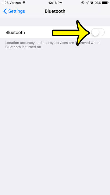 turn bluetooth on or off from the bluetooth menu