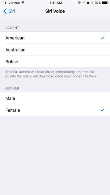 change the siri voice
