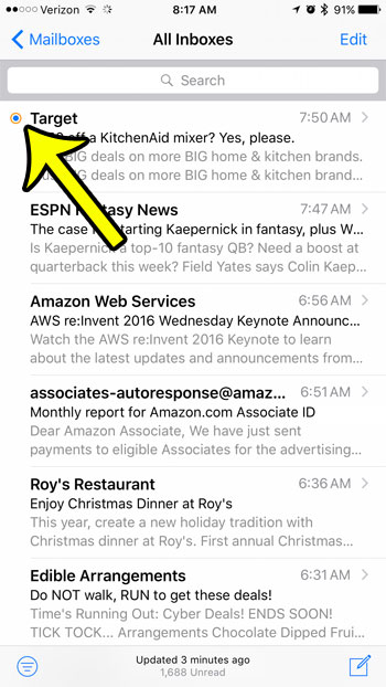 example of a flagged email in the iPhone Mail app