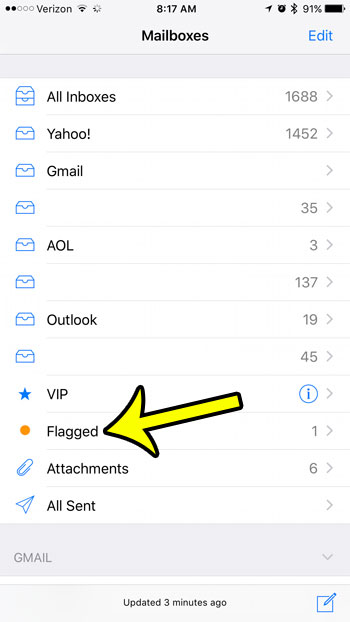 how to view flagged emails on an iphone