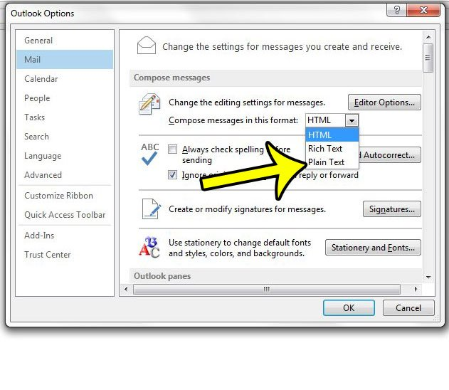 send as plain text by default in outlook 2013