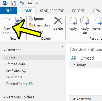 create a new email in outlook 2013