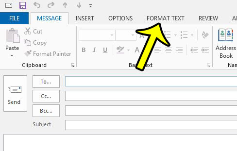 click the format text tab in outlook 2013