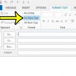 click the pain text option in outlook 2013 message