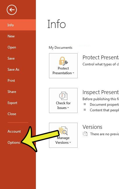 open the powerpoint options window