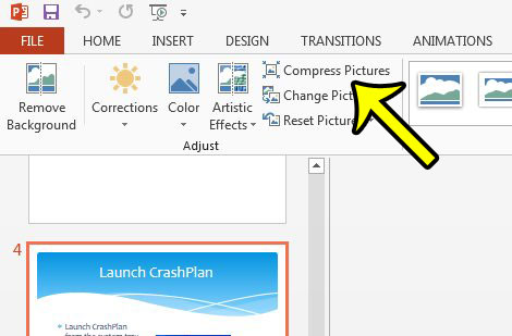 click the compress pictures button in powerpoint 2013