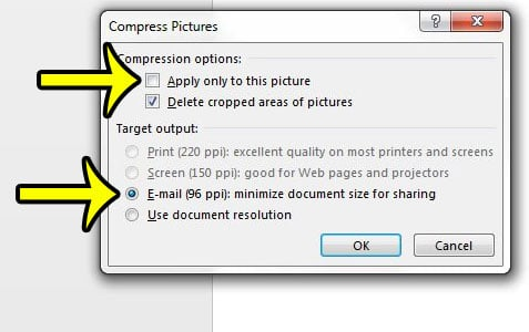 how to compress pictures in powerpoint 2013