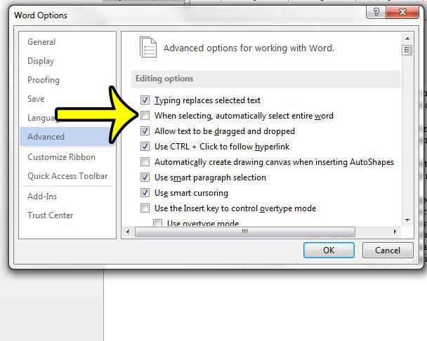 "click the ""when selecting, always select entire word"" option"