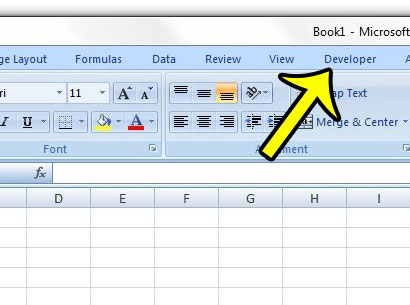an enabled developer tab in excel 2007