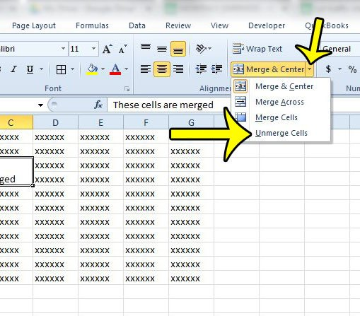 How To Unmerge Cells In Excel 2010 Live2tech