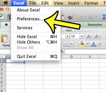 open excel preferences