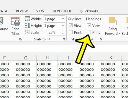 stop printing headings in excel 2013