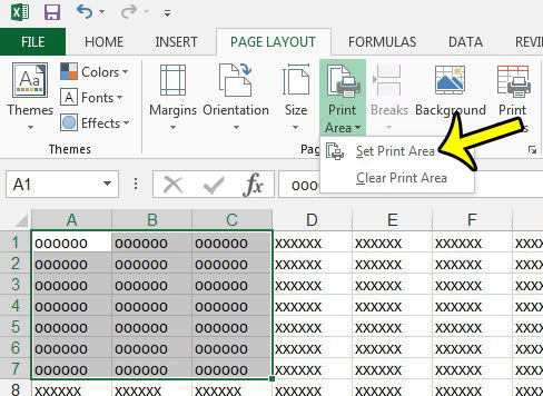 set the print area in excel 2013