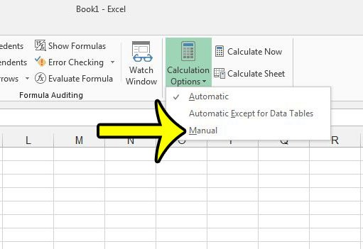 switch to manual calculation in excel 2013