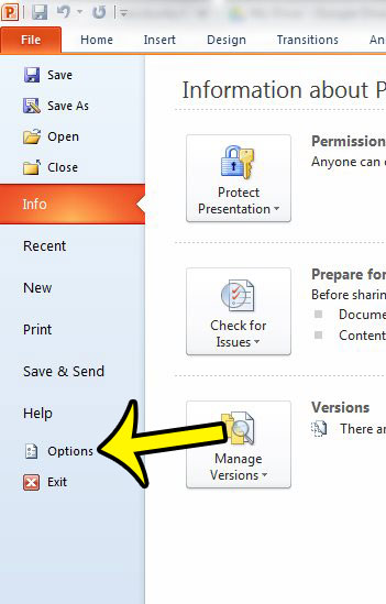open powerpoint options window