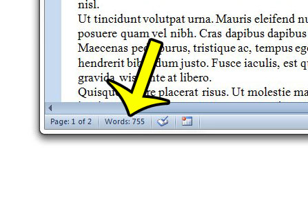 click the word count button in word 2010