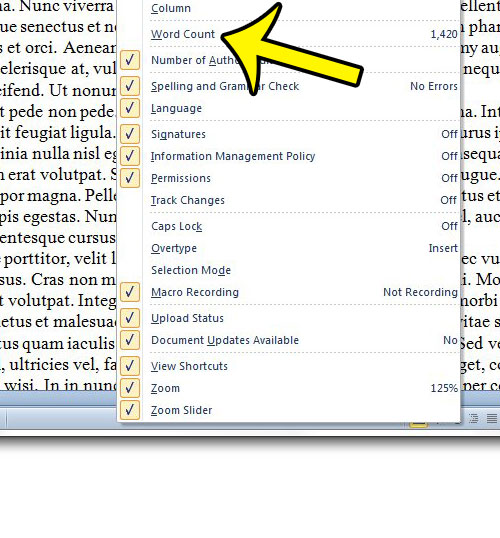 enable the word count in word 2010