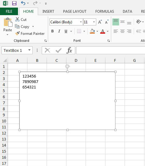 delete a text box in excel 2013
