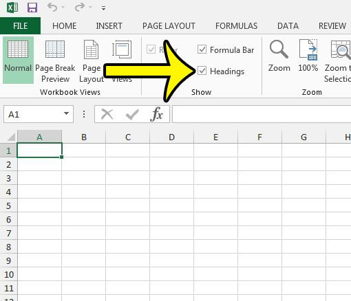 How To Unhide Row Numbers And Column Letters In Excel 2013