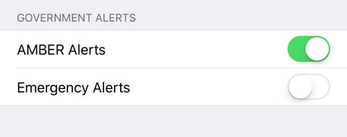 amber alerts and emergency alerts on iphone