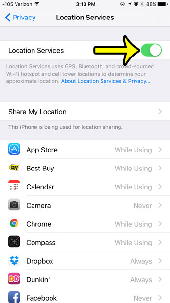 tap the location services button