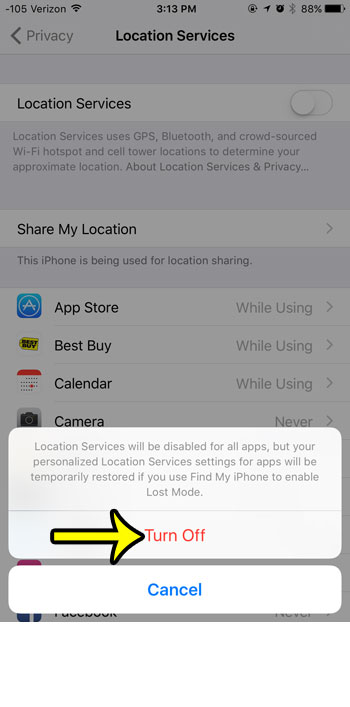 turn off location services on the iphone