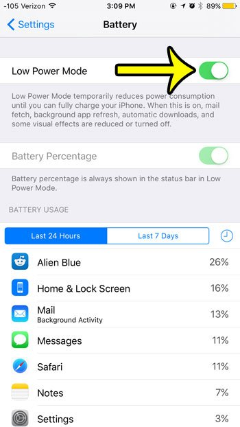 turn on low power mode in ios 9