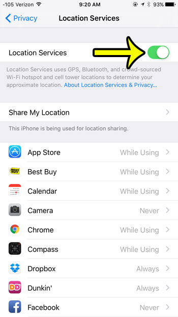 turn off location services in ios 9
