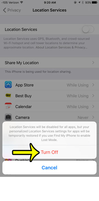 confirm turning off location services
