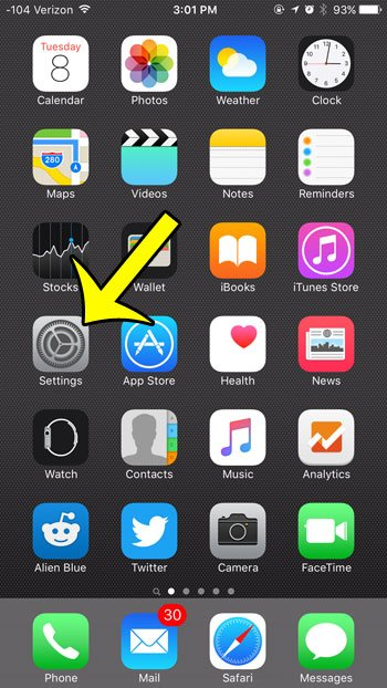 open the ios 9 settings menu