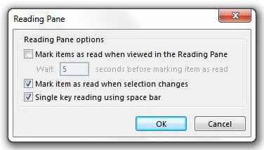 reading pane options window