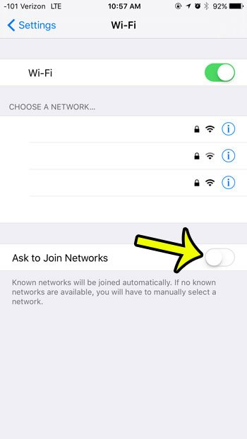 stop iphone from asking to join wi-fi networks